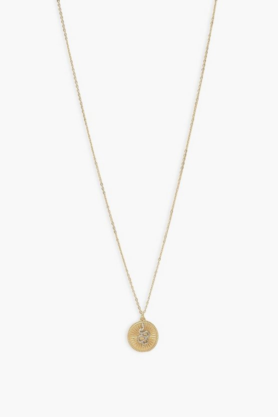 Womens Snake Pendant Necklace - Gold - One Size