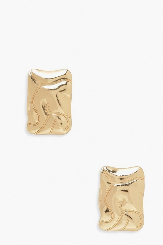 Womens Wave Square Studs - Gold - One Size