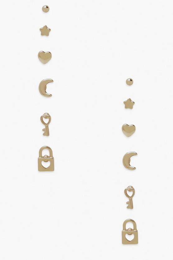 "Womens Ohrring-Set ""Dream Locked Heart"" - Gold - One Size"