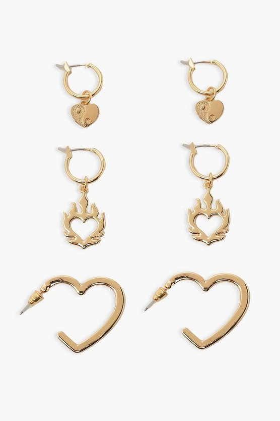 Womens Heart In Flames Creolen Set - Gold - One Size