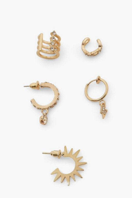 Womens Earring Pack With Cuff - Gold - One Size