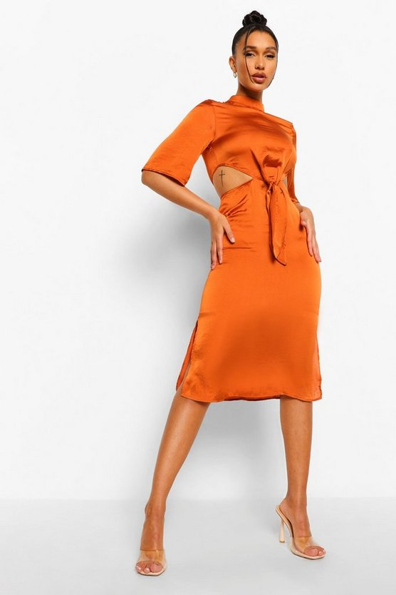 Womens High Neck Cut Out Tie Front Midi Dress - Rust - 34