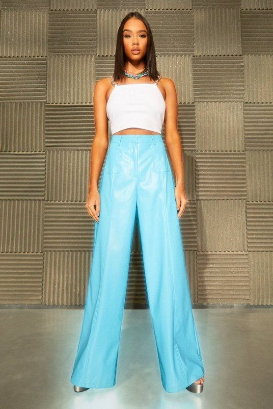 Womens Leather Look Pocket Straight Leg Trousers - Blue - 42