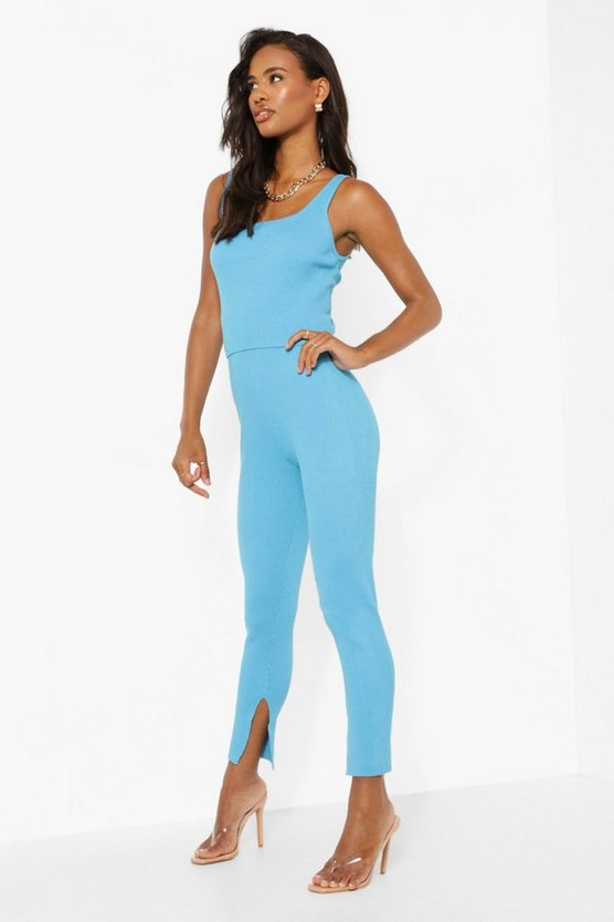 Womens Gerippes Strick Co-Ord Mit Leggings - Bright Blue - M