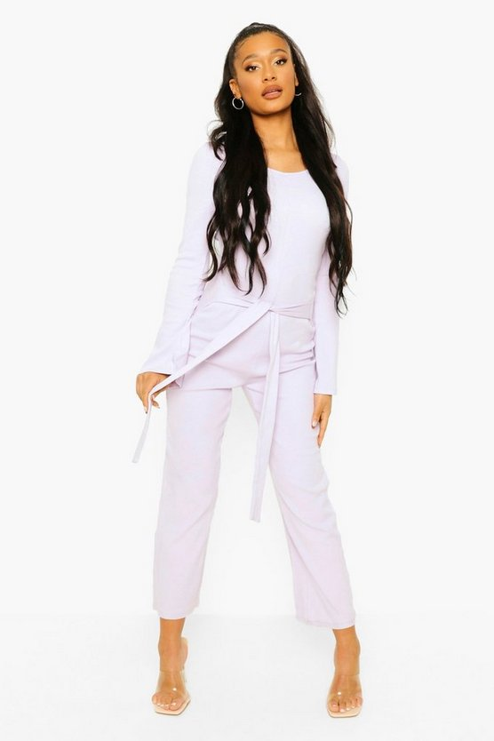 Womens Rib Long Sleeve Belted Culotte Jumpsuit - Lilac - 42