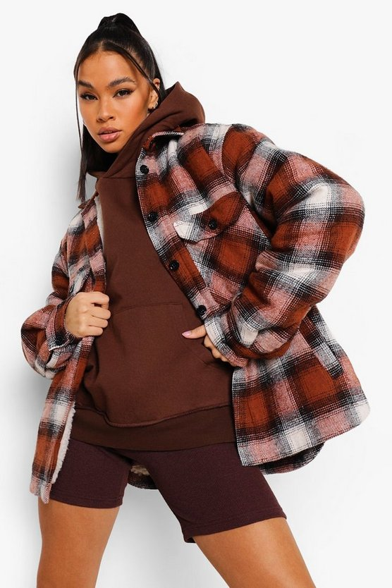 Womens Teddy Faux Fur Lined Check Shacket - Rust - 42