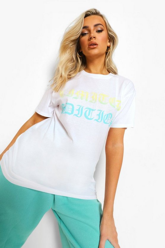 Womens Ombre T-Shirt In Übergröße In Limited Edition - Weiß - M