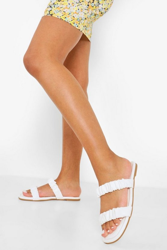 Womens Ruched Double Strap Sandal - White - 41