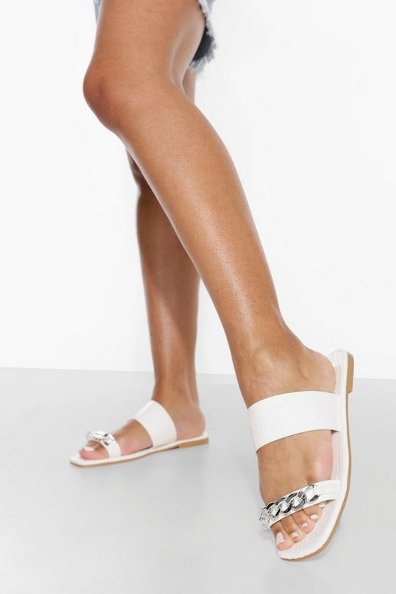 Womens Wide Fit Chain Detail Double Strap Croc Mule - White - 40