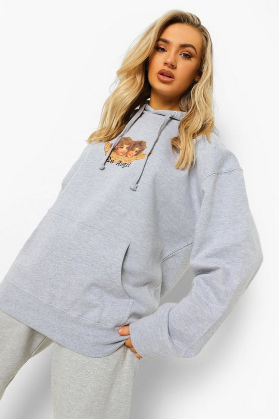 Womens Oversized Angel Printed Hoodie - Grey Marl - M