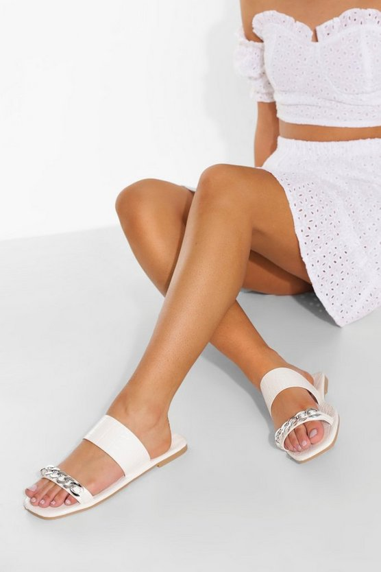 Womens Chain Detail Double Strap Jelly Croc Mule - White - 41