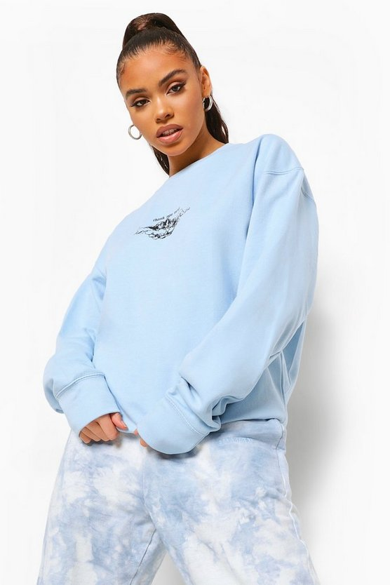 Womens Cherub Printed Oversized Overdyed Sweatshirt - Pale Blue - M