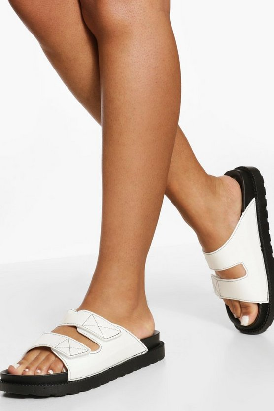 Womens Patent Contrast Stitch Double Strap Sliders - White - 41