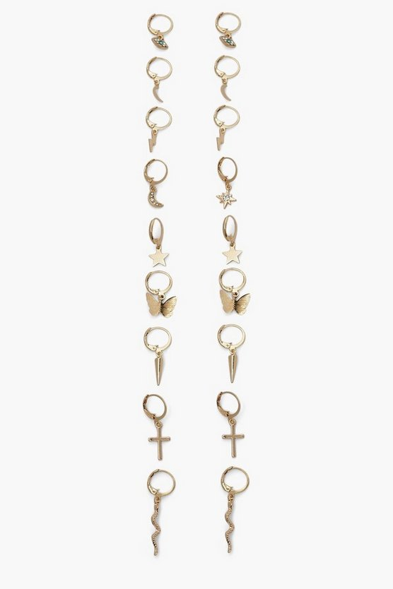Womens Ohrring-Set Mit Anhänger - Gold - One Size