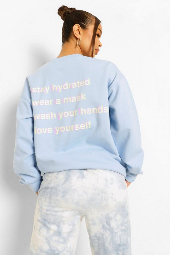 "Womens Sweatshirt Mit ""Self Care""-Print Am Rücken - Blassblau - Xs"