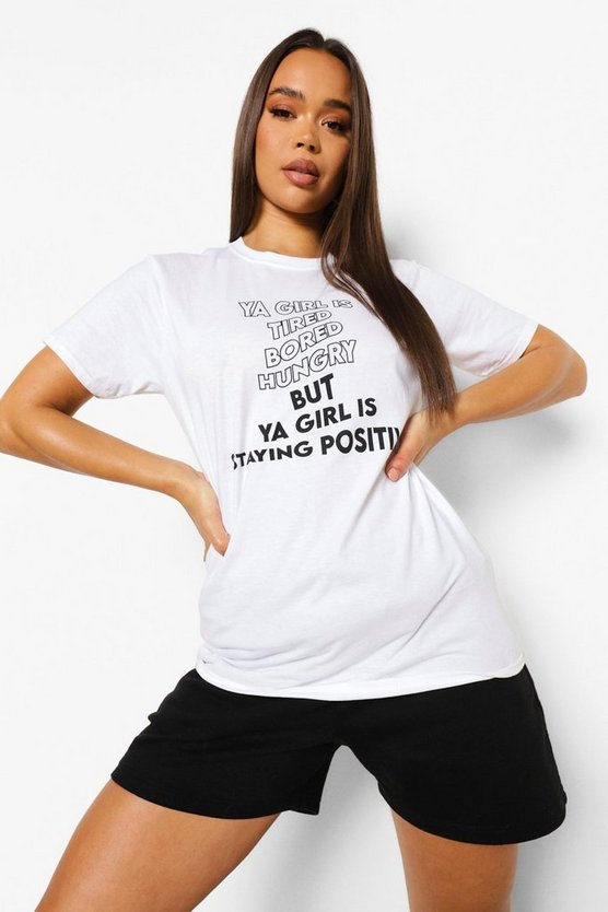 "Womens T-Shirt Mit ""Staying Positive""-Print - Weiß - Xs"