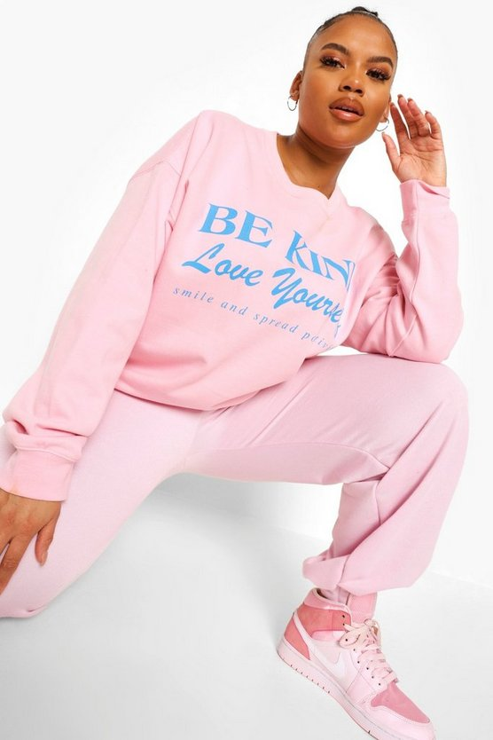 "Womens Plus Sweatshirt Mit ""Be Kind""-Slogan - Hellpink - 46"