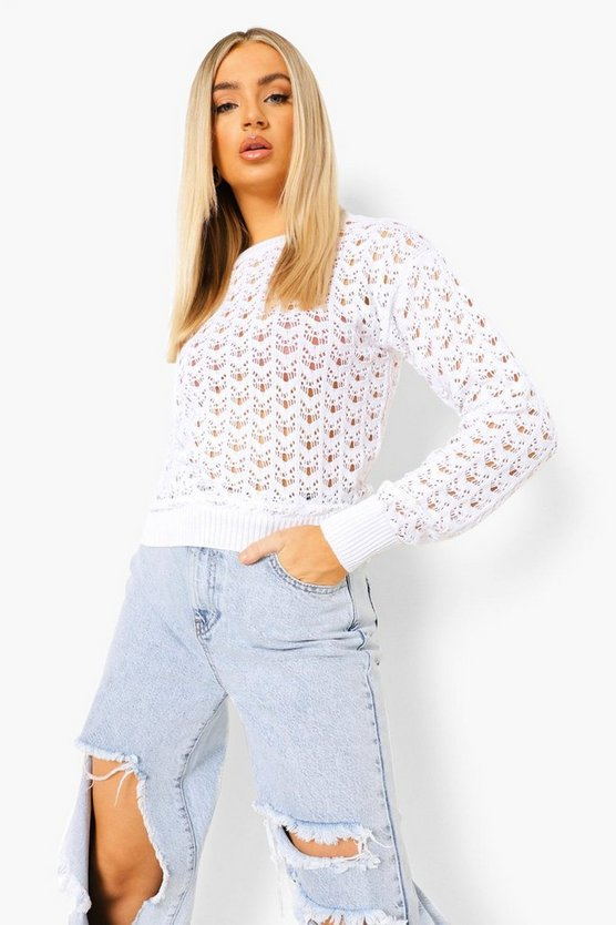 Womens Pullover Mit Ajour-Muster - Weiß - M