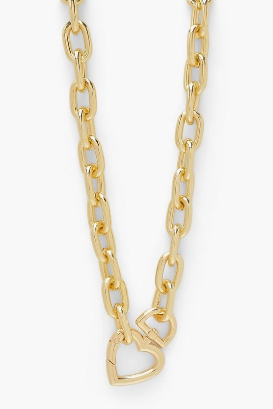 Womens Heart Lock Clip Chunky Chain Necklace - Gold - One Size