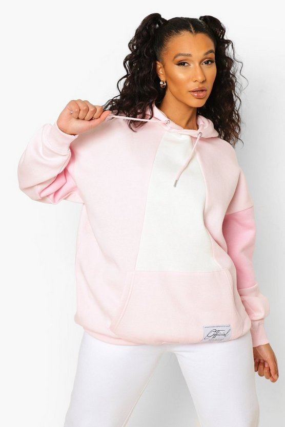 Womens Blue Official Label Colour Block Hoodie - Pink - M