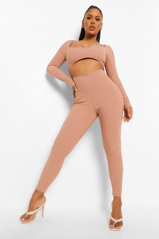 Womens Gerippter Skinny Jumpsuit Mit Bandage Und Cut-Out - Sand - 42