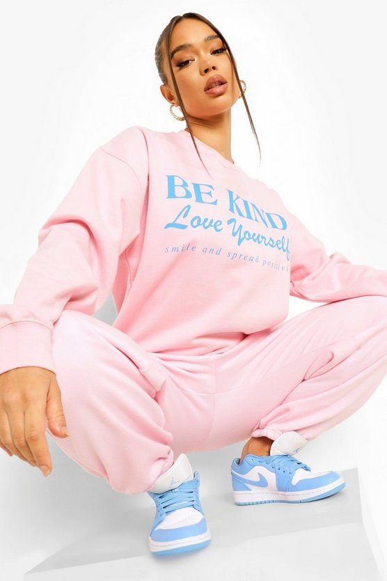 "Womens Sweatshirt Mit ""Be Kind""-Slogan - Hellpink - Xs"
