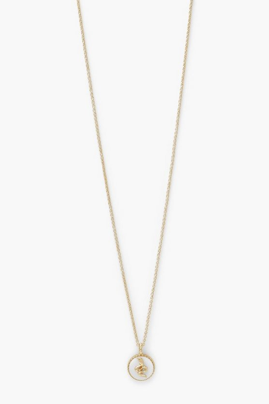 Womens Snake Stone Coin Necklace - Gold - One Size