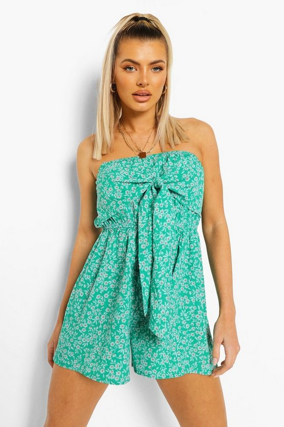 Womens Ditsy Floral Front Tie Playsuit - Green - 42