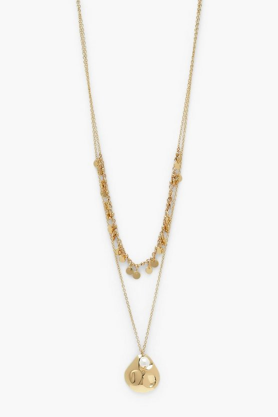 Womens Oyster Shell Captured Pearl Layered Necklace - Gold - One Size