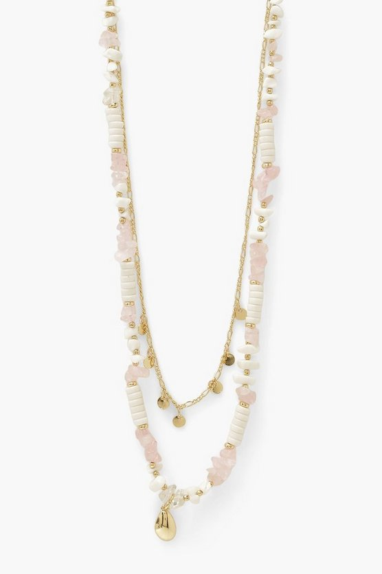 Womens Shell Beaded Layer Necklace - Gold - One Size