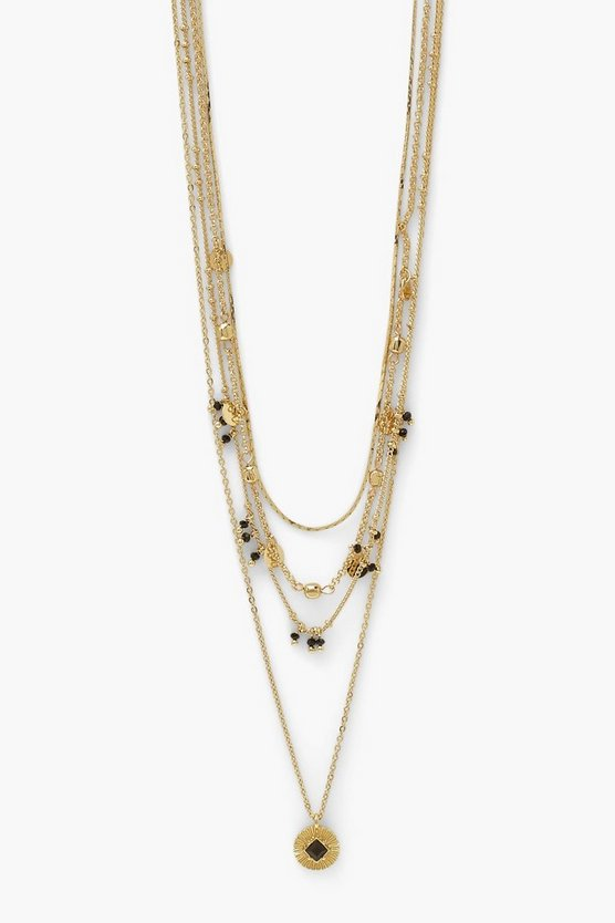 Womens Black Bead Drop Coin Pendant Necklace - Gold - One Size
