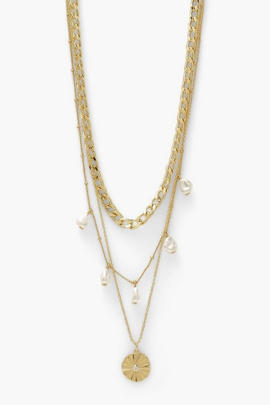 Womens Pearl Drop Link Chain Layered Necklace - Gold - One Size