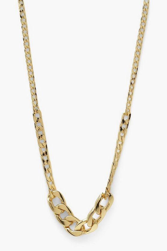 Womens Mix Chain Chunky Necklace - Gold - One Size