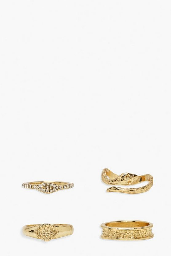 Womens Snake Wrap Ring Pack - Gold - One Size