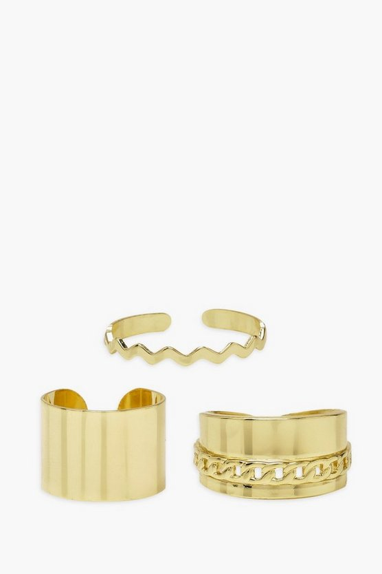 Womens Adjustable Smooth Gold Chain Wave Ring Pack - One Size