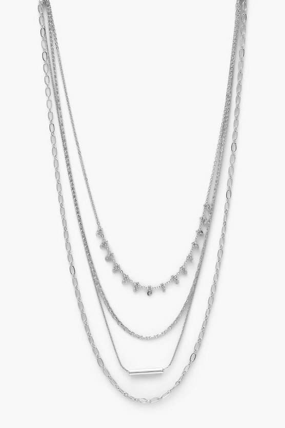 Womens Mini Multi Chain Layered Necklace - Silver - One Size