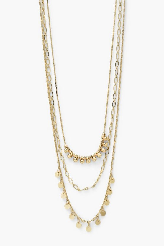Womens Drop Beads And Disc Layered Necklace - Gold - One Size