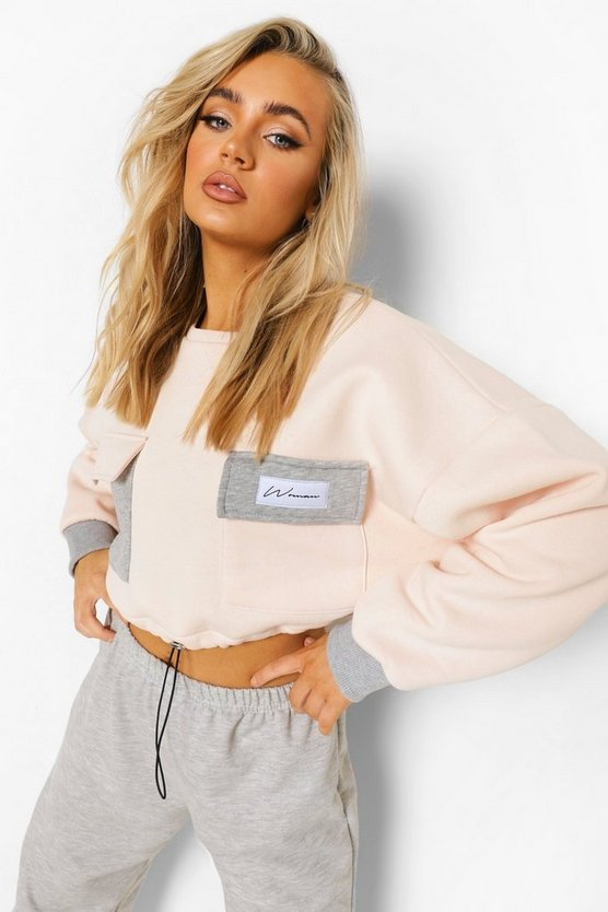Womens Woman Colour Block Cropped Sweatshirt - Grey - M