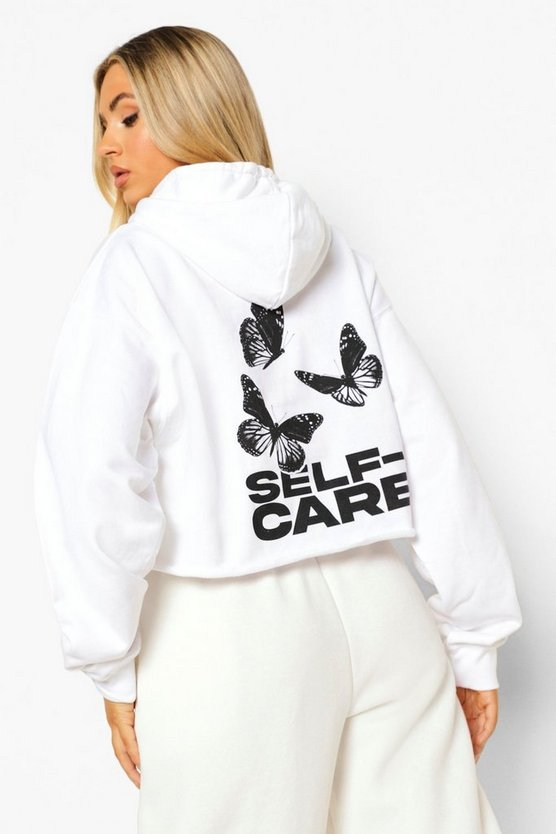 Womens Butterfly Self Care Cropped Hoodie - White - M