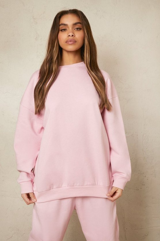 Womens Recycled Oversize Sweatshirt - Pale Pink - M