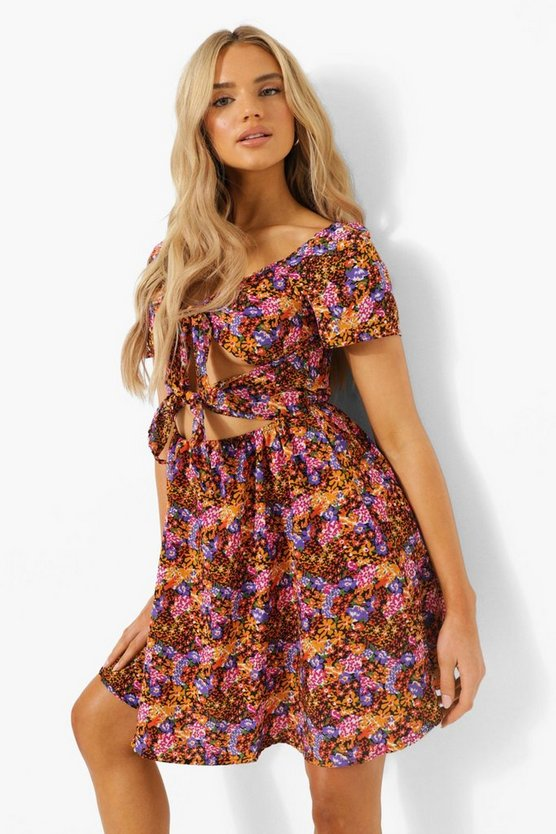 Womens Florales Cut-Out Skater-Kleid Mit Knoten - Yellow - 40