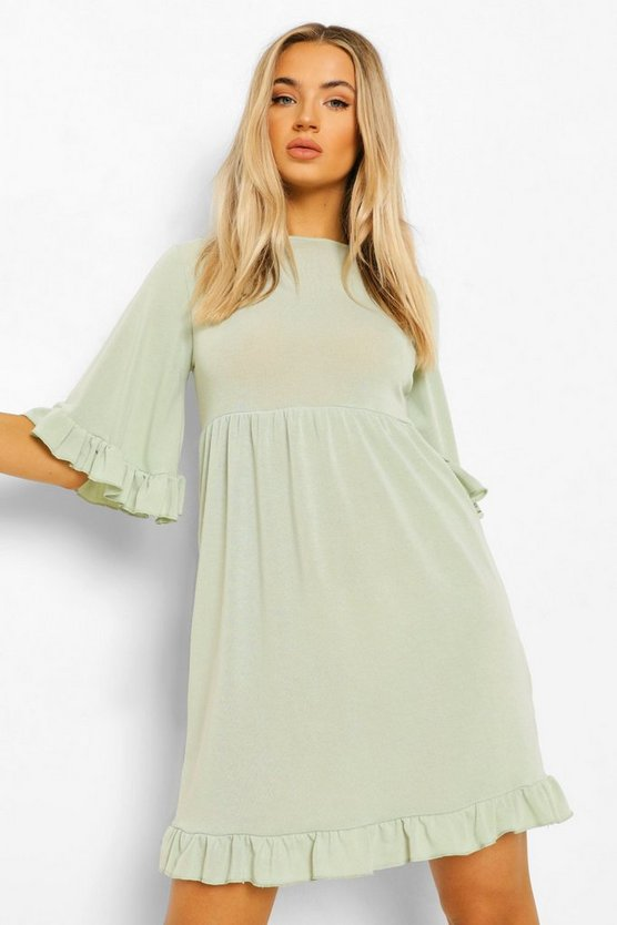 Womens Flared Sleeve Frill Detail Smock Dress - Sage - 44