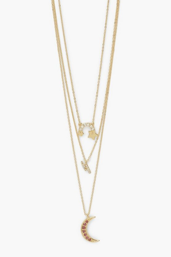 Womens Rainbow Celestial Layered Necklace - Gold - One Size