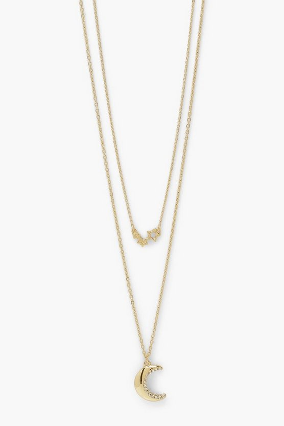 Womens Triple Star & Moon Pendant Layered Necklace - Gold - One Size