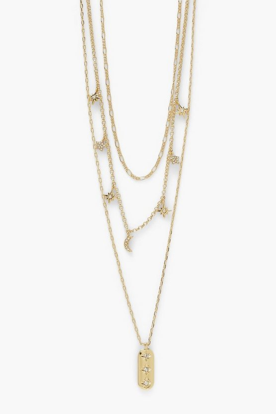Womens Celestial Moon & Star Charm Layered Necklace - Gold - One Size