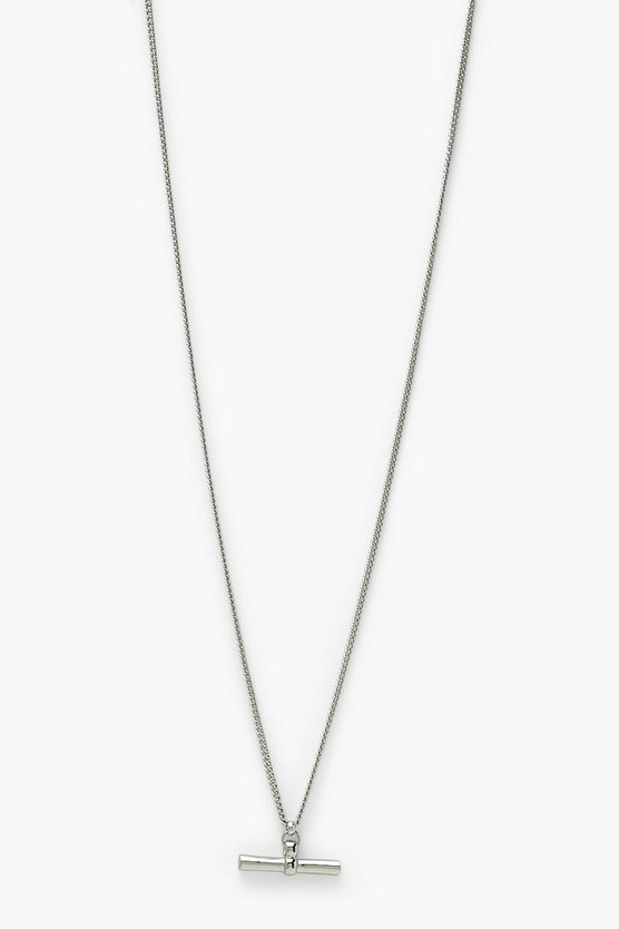 Womens T Bar Simple Single Necklace - Silver - One Size