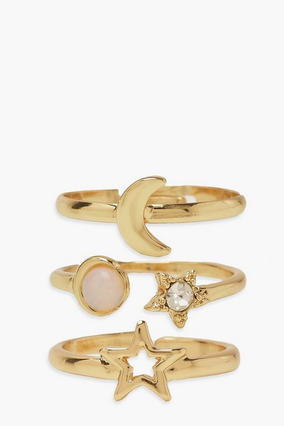 Womens Adjustable Star And Moon Ring Pack - Gold - One Size