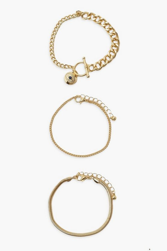 Womens T Bar Toggle 3 Pack Mix Chain Bracelets - Gold - One Size
