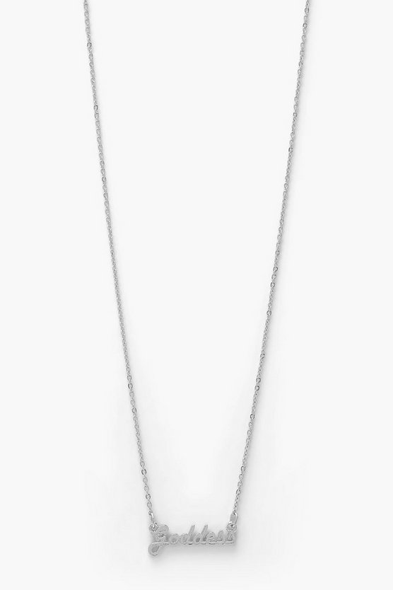 Womens Goddess Slogan Necklace - Silver - One Size