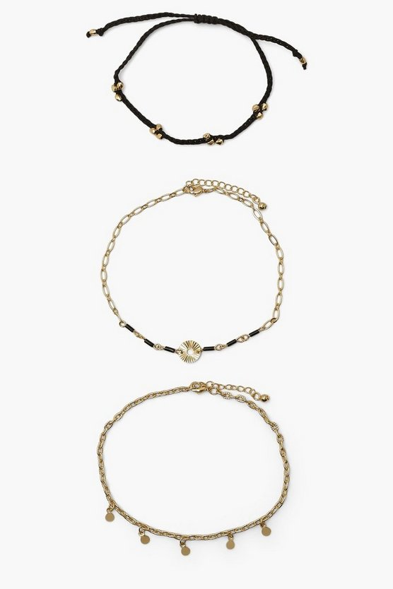 Womens Woven Black Anklet 3 Pack - Gold - One Size
